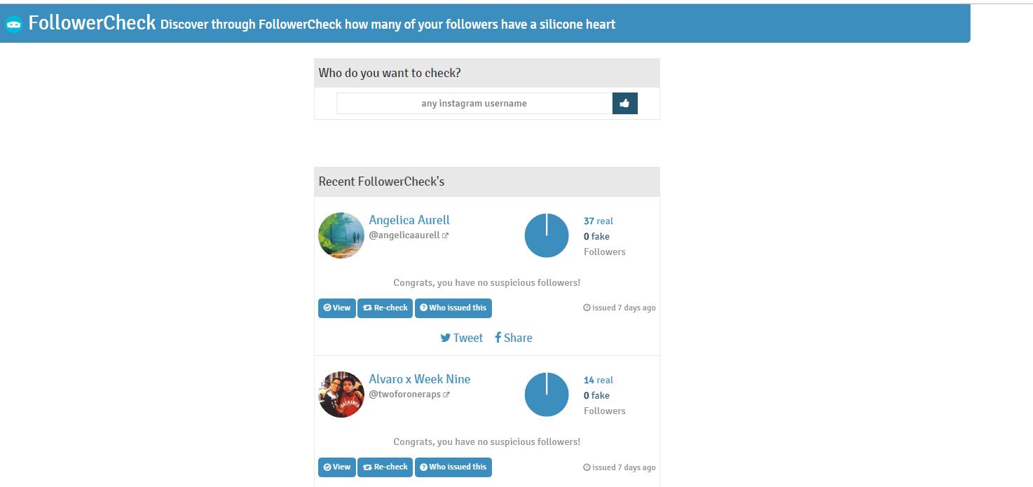 followercheck seguidores falsos instragram