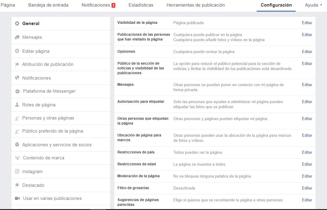 configuracion pagina facebook